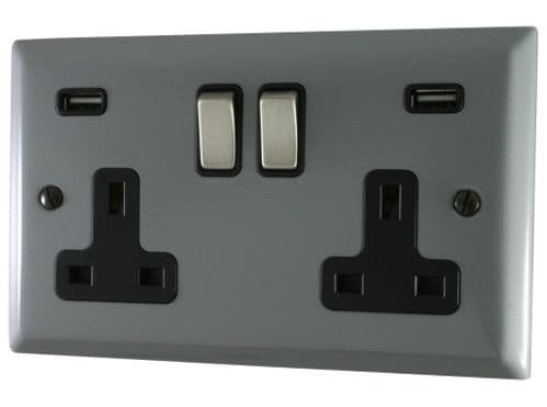 G&H SLG3910 Spectrum Plate Light Grey 2 Gang Double 13A Switched Plug Socket 2.1A USB